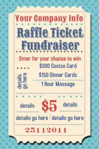 Raffle Ticket Fundraiser Movie Party Flyer Poster Template  Dinner Tickets Template