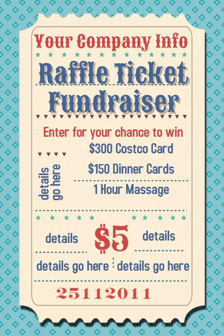 raffle ticket fundraiser movie party flyer poster template