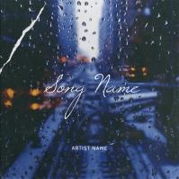 Rain on the street Album cover Art template