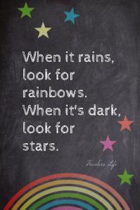 Rain Rainbow and Stars Motivational Poster