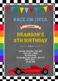 Rainbow and race car birthday Invitation A6 template