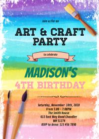 Rainbow art party invitation A6 template