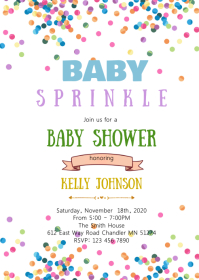 Rainbow baby sprinkle shower invitation