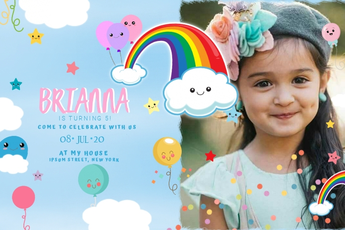 Rainbow Birthday Spanduk 4' × 6' template