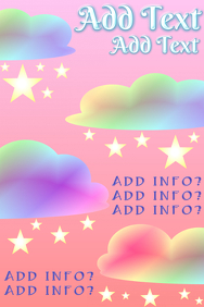 Rainbow colored clouds and yellow stars