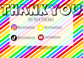 rainbow diagonal stripe thank you card TJ Poskaart template