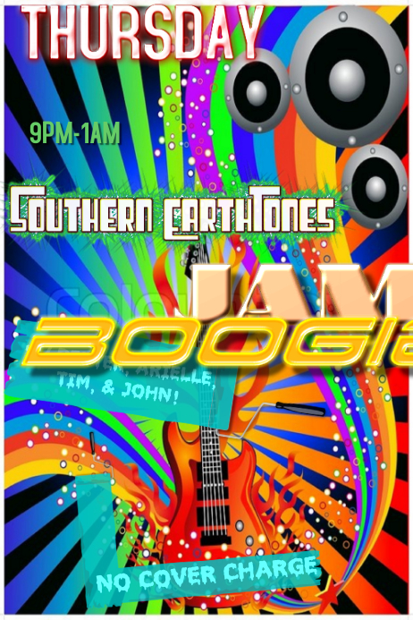 rainbow guitar music art event flyer poster template postermywall
