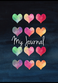 Rainbow Hearts Notebook Cover A4 template