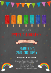 Rainbow ice cream birthday party invitation A6 template