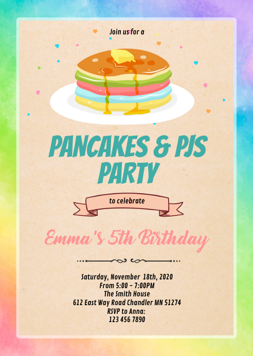 Rainbow pancake invitation A6 template