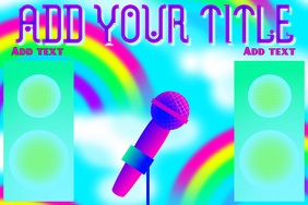rainbow speakers and microphone in pink and blue poster template