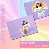 Rainbow Vortex Boutique Shop Sale Social Medi Instagram Post template