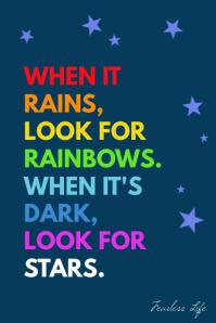 Rainbows, rain and stars inspiration poster