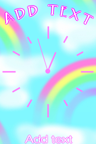 rainbows and clouds and pink simple clock