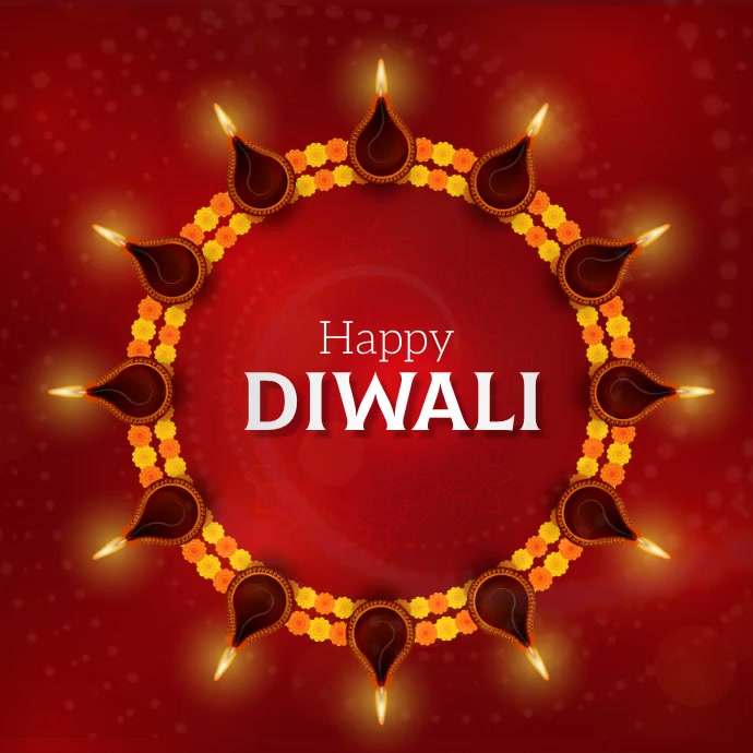 Diwali, Indian festival Quadrat (1:1) template