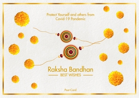 Raksha Bandhan Best Wishes Card Template Postal
