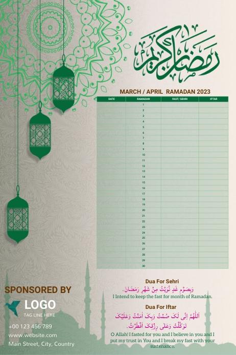 Ramadan Calendar 2021 Template Design Plakat