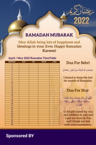 Ramadan Calendar 2021 Template Design Poster