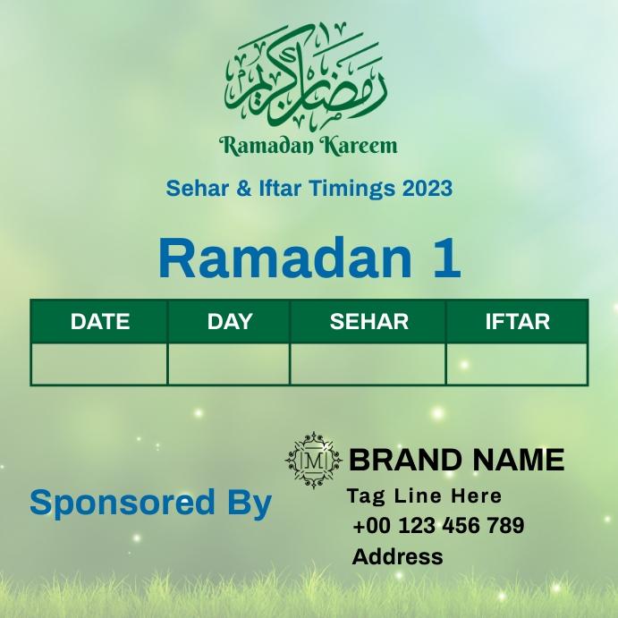 Ramadan Calendar 2020 Template Design