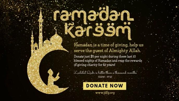 Ramadan Dinner Invitation Banner Template Facebook Cover Video (16:9)