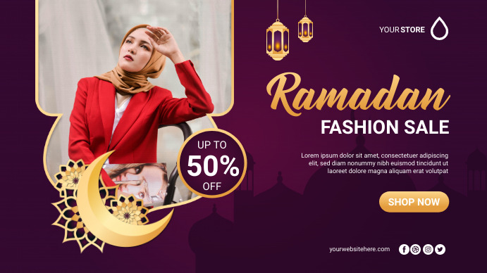 Ramadan Fashion Sale Poster Banner Digitalt display (16:9) template