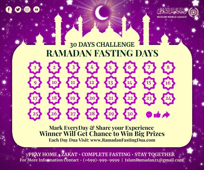 Ramadan Fasting 30 Days Calendar Template Средний прямоугольник