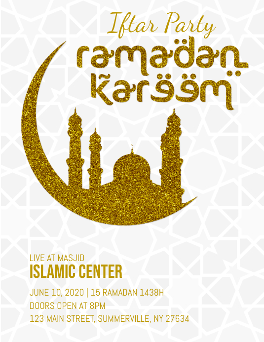 Ramadan Iftar Party Flyer Ulotka (US Letter) template