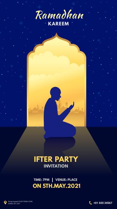 Ramadan Ifter Party 数字显示屏 (9:16) template