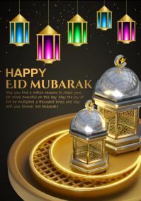 Eid golden card A4 template