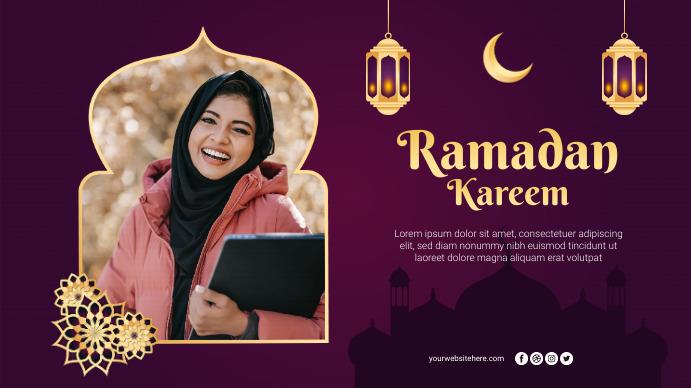 Ramadan Kareem Greetings Poster Banner Digitalt display (16:9) template