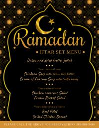 Ramadan Kareem Iftar Menu Design Black