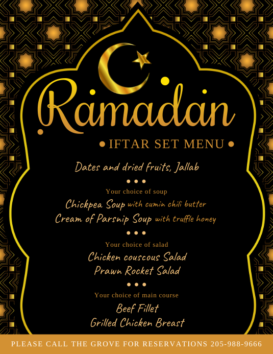 Ramadan Kareem Iftar Menu Design Black