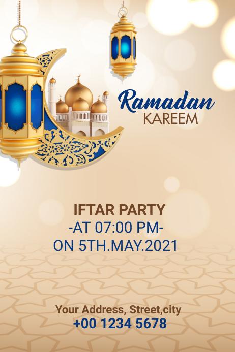Ramadan Kareem Iftar Party Banner Баннер 4' × 6' template