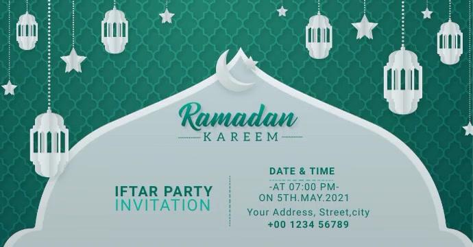 Ramadan Kareem Iftar Party Invitation Banner Рекламное объявление Facebook template