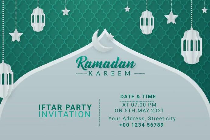 Ramadan Kareem Iftar Party Invitation Banner 4' × 6' template