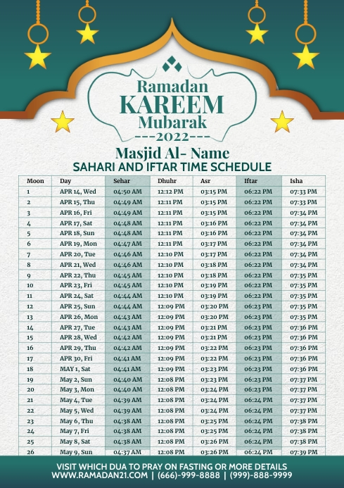 Ramadan Kareem Schedule 2021 Template A4
