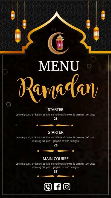 Ramadan menu ,iftar menu Instagram-verhaal template