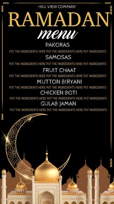 Ramadan menu digital display, dinner menu 数字显示屏 (9:16) template