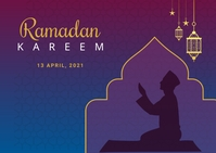 Ramadan postcard design Postkort template
