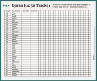 Ramadan Quran Juz 30 Days Tracker Template Persegi Panjang Sedang
