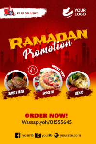 Ramadan restaurant Promotion Instagram Póster template