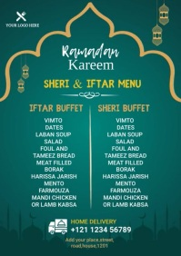 Ramadan Sheri & Iftar Food Menu A4 template