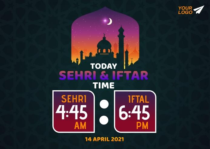 Ramadan Sehri & Iftar Time Открытка template