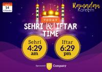 Ramadan Sheri & Iftar Time Postal template