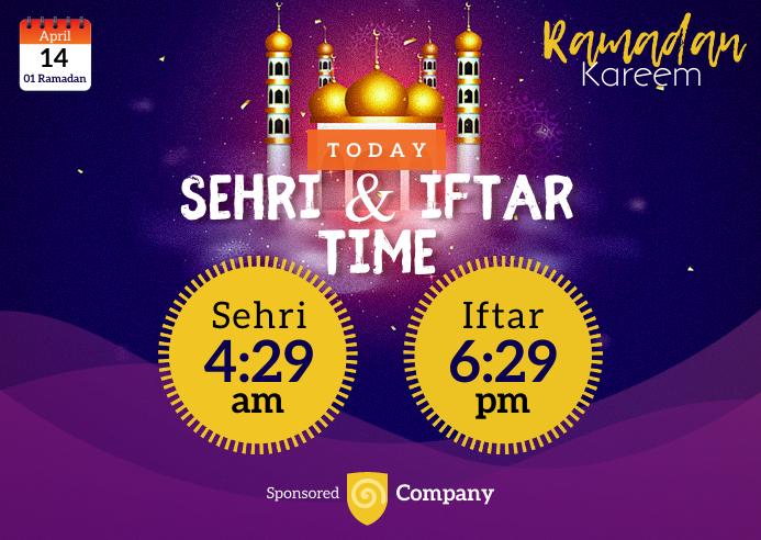 Ramadan Sheri & Iftar Time Briefkaart template