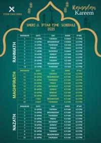 Ramadan Sheri & Iftar Time A4 template