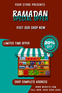 Ramadan Special GROCERY DISCOUNT Offer Banner 横幅 4' × 6' template