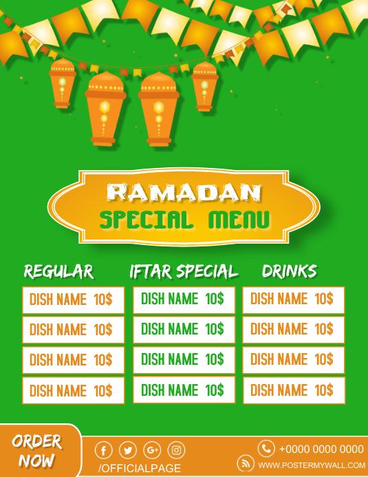 Ramadan Special Menu Ad Flyer free editable t Pamflet (Letter AS) template