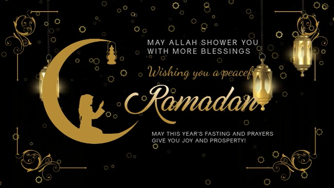 Ramadan Wish and Blessings Banner Design Facebook-omslagvideo (16: 9) template