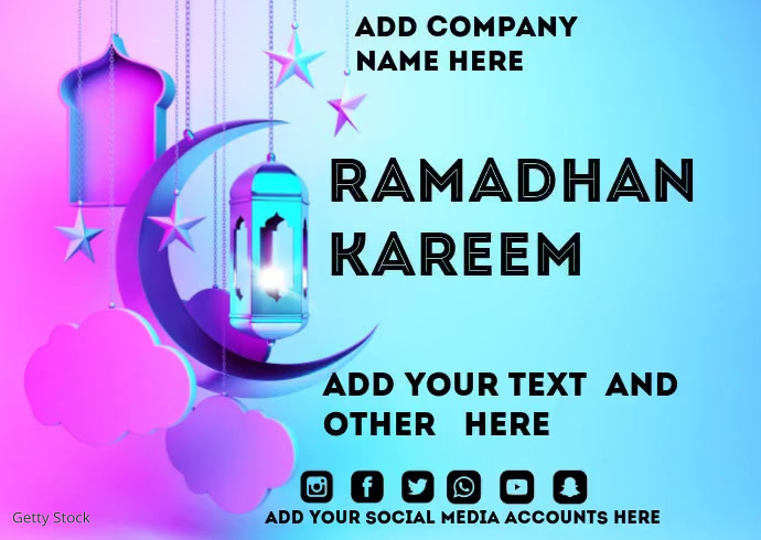 Ramadhan Kareem Postcard template